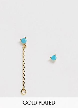 🥀💙 wip! позолоченные серьги с бирюзовым цирконием от премиум бренда astrid & miyu