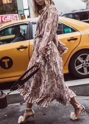 Шифоновое платье миди с длинным рукавом, цветочный принт, с оборками, плиссе