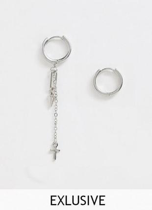 🐻⚡️ мужские асимметричные серьги-кольца с подвесками цепочки, крестик от asos оригинал