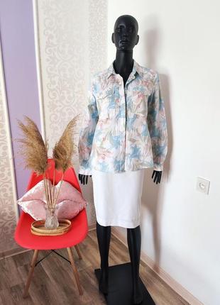 Невероятная цветочная натуральная красивая нежная рубашка льон хлопок💐