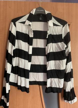 Полосатая рубашка h&m xs размер
