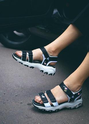 Женские босоножки skechers d'lites sandal black ◈ сандали черного цвета ◈ лето 😍