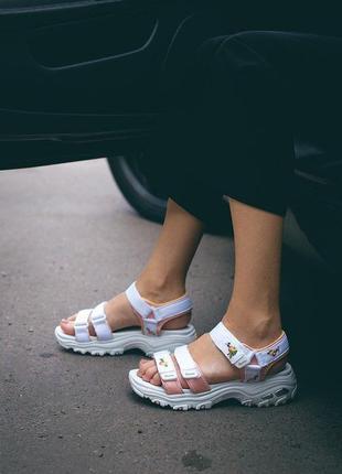 Женские босоножки skechers d'lites sandal white ◈ сандали белого цвета ◈ лето 😍