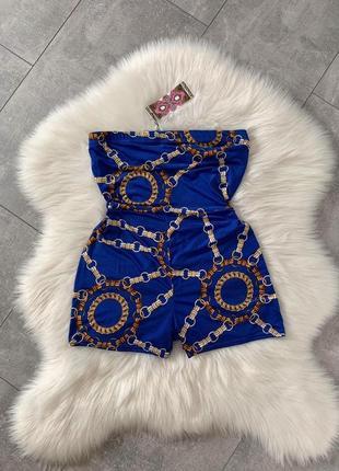 Синий ромпер boohoo в стиле hermes, versace