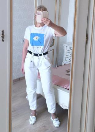 Zara mom fit крутые белые джинсы на пуговицах высокая посадка легкая терка eur 42 m/l