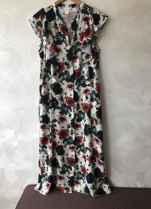 Платье на пуговицах в маки h&m