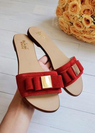 Красные замшевые шлепанцы р34-42 шлепки сандалии тапки сланцы шльопанці червоні капці