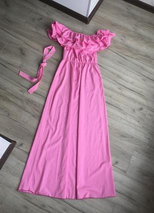 Платье в пол с воланом