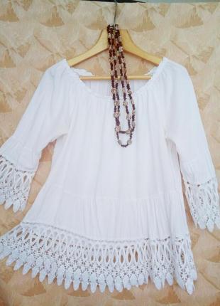 Нарядная белая блуза натурального качества.4 фото