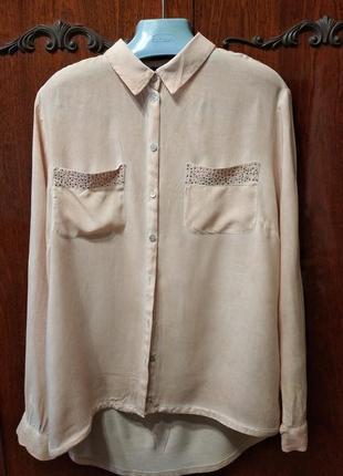 Рубашка из вискозы, длинный рукав.