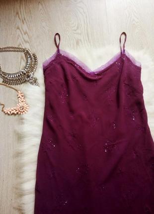 Шелковое платье миди в бельевом стиле вышивка камнями шифон батал большой размер цветное