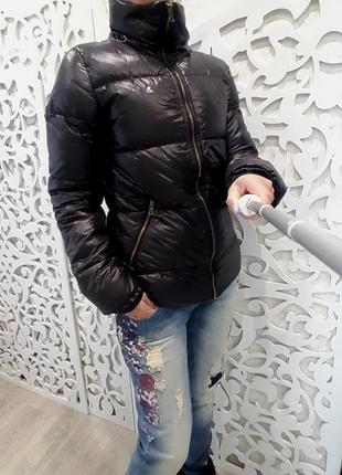 Пуховик чёрный бренд adidas оригинал куртка без капюшона
