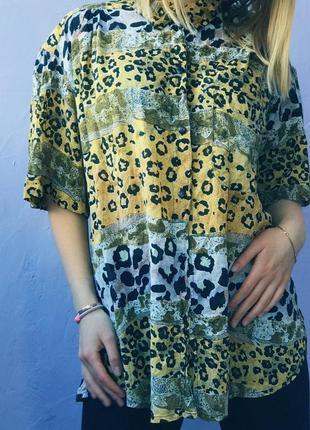 Оверсайз рубашка в леопардовый принт