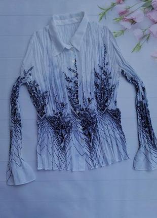Красивая нарядная шифоновая блуза плисе жатка
