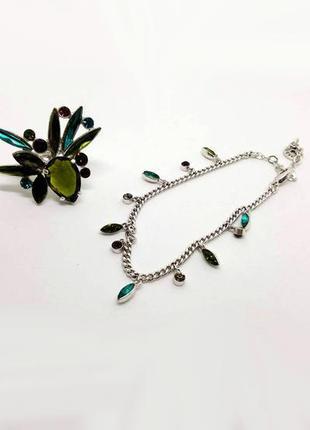 Элегантный набор леди зарина: браслет и кольцо, кристаллы, посеребрение pilgrim дания