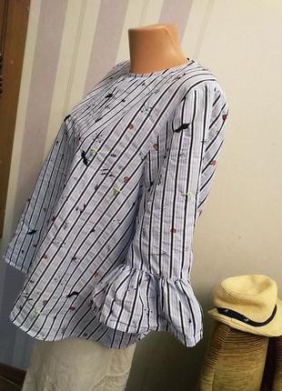 Шикарная блузка в полоску, люкс,  оверсайз, обьемная  вышивка , хлопок, рукав волан