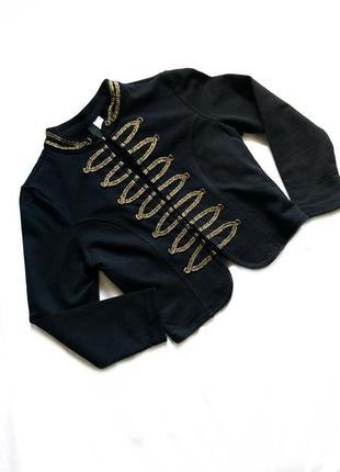 Черное болеро теплое р 36 с вышивкой золотом
