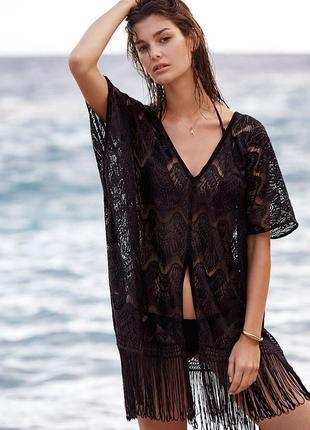 Пляжная кружевная накидка\туника с бахромой\пляжна накидка