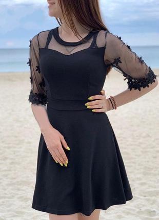 Платье черное с фатином платье двойка