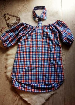 Рубашка в клетку с открытыми плечами и воротником батал большой размер туника блуза