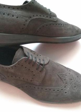 Замшевые мужские туфли туфлі 40, 44  vero cuoio италия