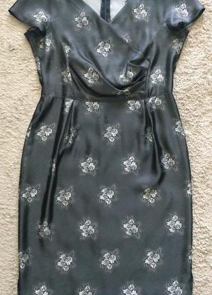 Темно-серое платье  100% шелк hand made р.40