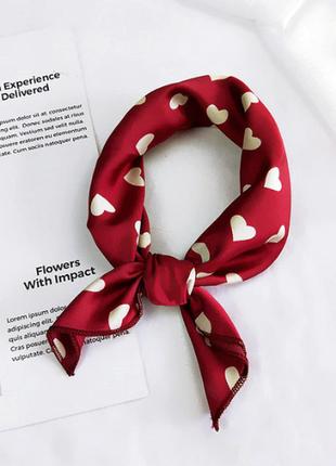 Платок платочек бант лента для волос на сумку топ-качество марсал в горох сердечки
