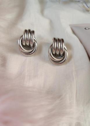 Cерьги серёжки винтаж винтажные ретро кольца под серебро новые качественные4 фото