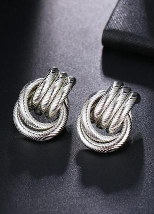 Cерьги серёжки винтаж винтажные ретро кольца под серебро новые качественные