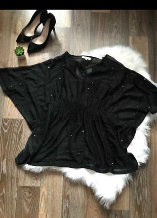 Шифоновпя блуза с вышивкой пайетками и бисером