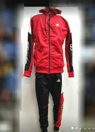 Мужской спортивный костюм адидас зауженные штаны с капюшоном