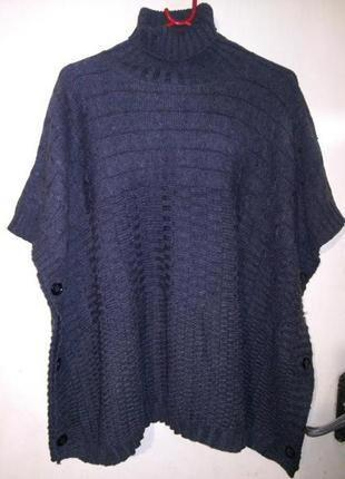 Тёплая,фактурной вязки,свитер-накидка-кардиган-водолазка,большого размера,оверсайз
