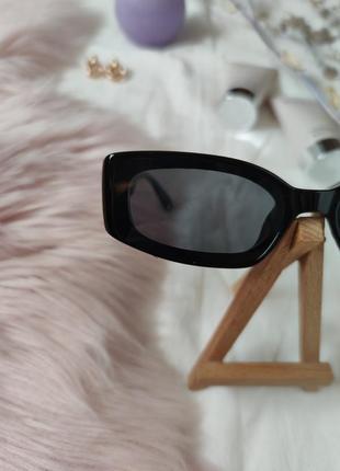 Очки окуляри винтажные стильные в стиле 90-х трендовые черные солнцезащитные новые6 фото