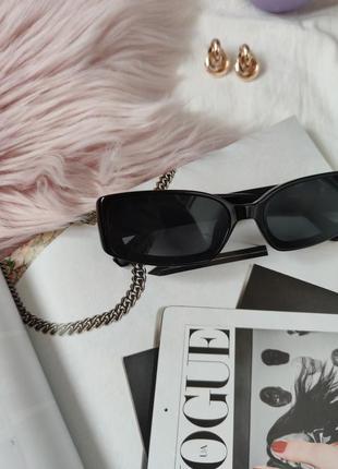 Очки окуляри винтажные стильные в стиле 90-х трендовые черные солнцезащитные новые4 фото