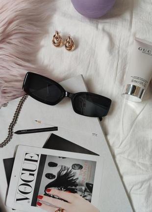 Очки окуляри винтажные стильные в стиле 90-х трендовые черные солнцезащитные новые3 фото