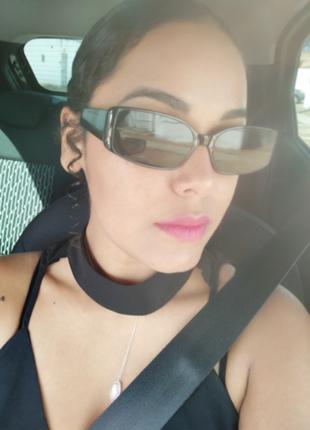 Очки окуляри винтажные стильные в стиле 90-х трендовые черные солнцезащитные новые10 фото