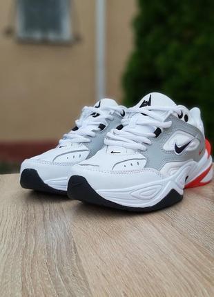 Женские кроссовки nike m2k tekno белые с красным5 фото