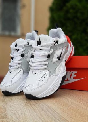 Женские кроссовки nike m2k tekno белые с красным6 фото