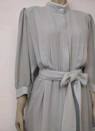 Винтажное платье в горошек сукня ретро лёгкое стильное платье с поясом на подкладке
