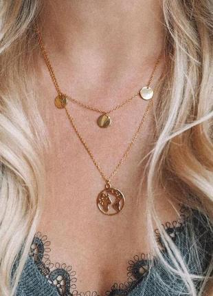 Цепь цепочка двойная ожерелье колье кулон земля под золото новая