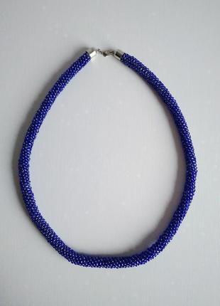 Синий джгут лариат бусы из бисера