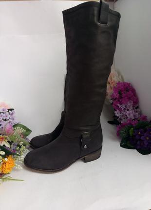 Новые кожаные сапоги демисезоные, натуральная кожа, нубук,
