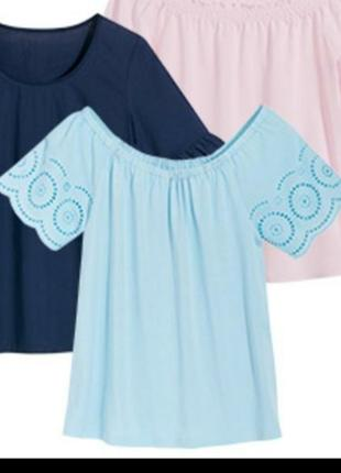 Очаровательная легкая блуза с коротким рукавом blue motion