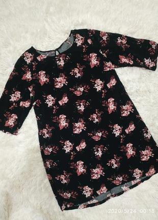 Платье цветочный- принт прямого кроя