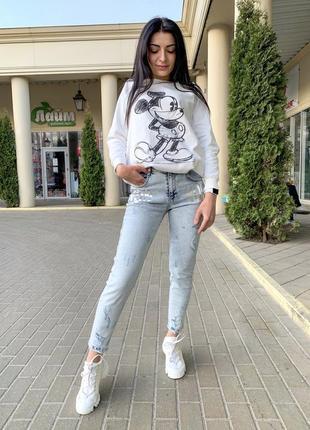 Стильные,актуальные джинсы светлые с высокой посадкой