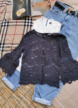 Кружевная гипюровая блузка блузочка рукав волан