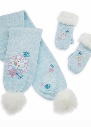 Вязаный набор эльза для девочки-шарф и варежки-frozen-2, дисней