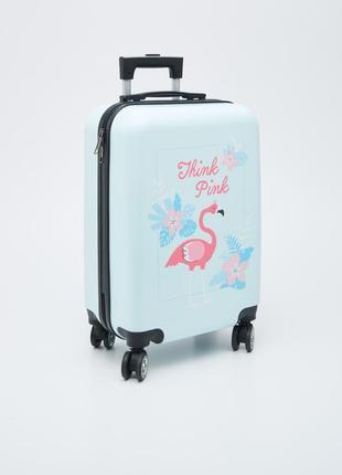 Пластиковый чемодан для девочки с фламинго