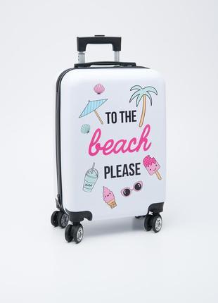 Малый пластиковый чемодан с принтом и двойными колесами для ручной клади