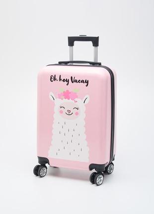 Пластиковый чемодан с принтом/ рисунком  лама малый для ручной клади